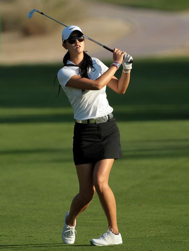Michelle Wie Dubai Masters Little summer nude color mesh shoulders Ribbon Vest Dress