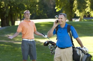 golfer on phone