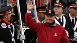 COLUMBUS, OH - OCTOBER 28:  Golf legend Jack Nicklaus waves to the crowd as he is introduced to dot the i in Ohio formed by the marching band during the half-time show at Ohio Stadium on October 28, 2006 in Columbus, Ohio.  (Photo by Harry How/Getty Images)