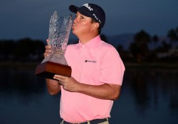 LA QUINTA, CA - JANUARY 24:  Jason Dufner poses with the trophy after winning the CareerBuilder Challenge In Partnership With The Clinton Foundation at the TPC Stadium course at PGA West  on January 24, 2016 in La Quinta, California.  (Photo by Harry How/Getty Images)