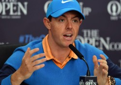 Northern Ireland's Rory McIlroy speaks t